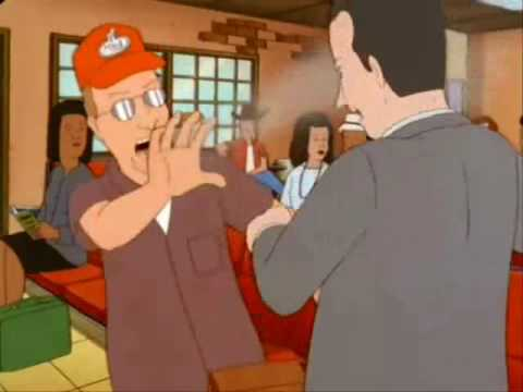 A screenshot from the TV show King of the Hill showing character Dale throwing a handful of sand at a man.