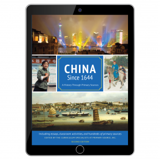 China Since 1644 cover shown on a black tablet screen.